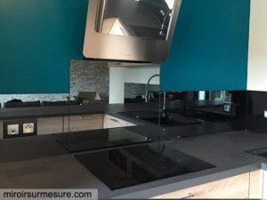 Credence cuisine miroir gris