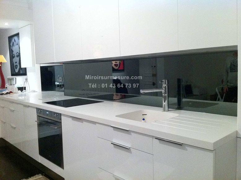 Credence en miroir gris4 professionnel du miroir sur mesure verre sur mes - Credence cuisine grise ...