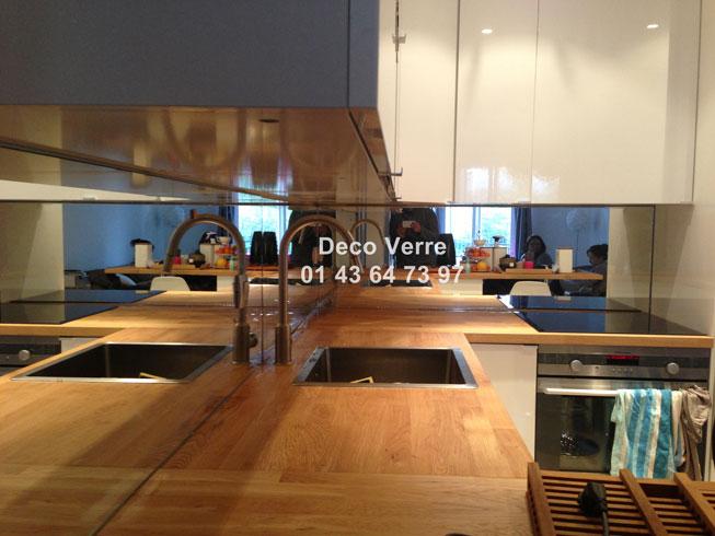 Mur Gris : Crédence miroir sur mesure pour votre cuisine
