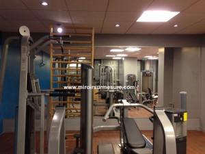 Salle de musculation recouvert de miroir, mur miroir salle de musculation