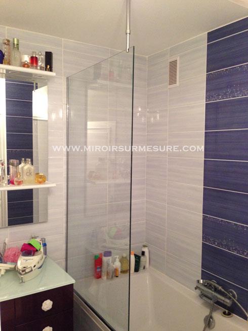 Pare baignoire en verre trempé fixe pour salle de bain avec raidisseur verre plafond