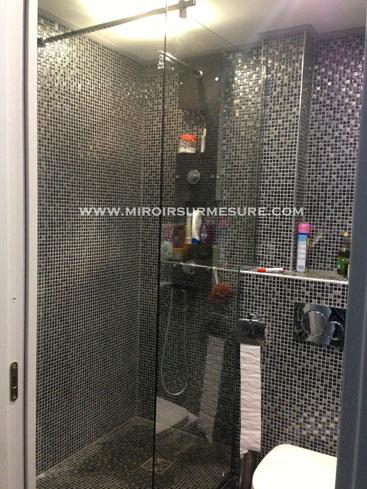 Paroi de douche fixe posée sur rail avec un raidisseur