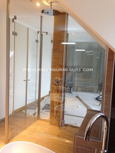 Ensemble de douche à l'italienne en verre trempé anti-calcaire Showerguard