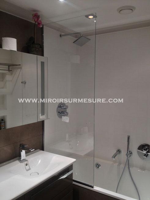 Pare-baignoire en verre trempé extra clair traitement anti-calcaire