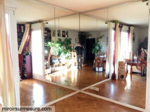 Mur miroir en angle sur mesure